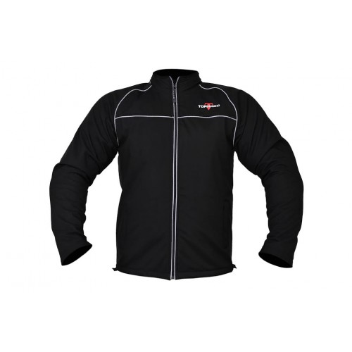 BLACK SOFTSHELL MOTORCYCLE JACKET WITH PROTECTIONS